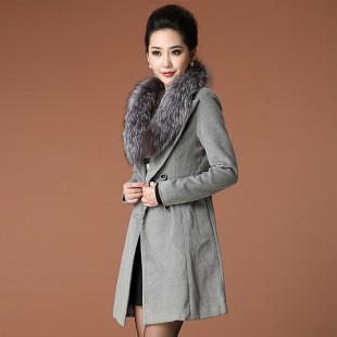 秋冬装新款女装2013修身中长款超大狐狸毛领风衣外套D948