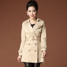 2013秋冬新款翻领系腰带双排扣女式风衣 时尚女装  韩版外套  包邮
