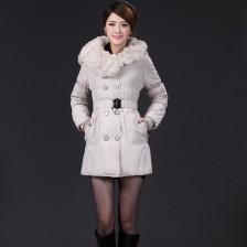 韩版女装新款淑女加厚长款棉服修身真兔毛棉衣(配腰带)   包邮