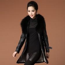 2013秋冬装新款女装貉子毛领PU皮中长款风衣外套大衣