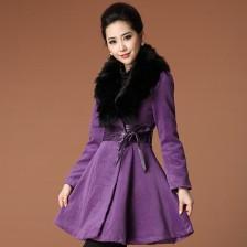 秋冬装新款女装毛呢风衣外套狐狸毛领连衣裙 时尚靓丽  包邮