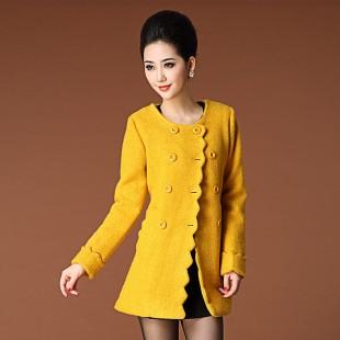 冬装2013新款双排扣外套/纯色羊毛呢外套 修身气质