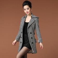 2013冬装新品女式风衣千鸟格双排扣呢外套大衣  韩版外套  包邮