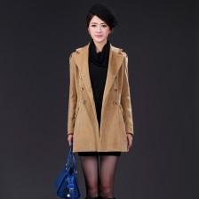 新款冬装双排扣呢子大衣外套 长款风衣韩版修身外套女式风衣  包邮