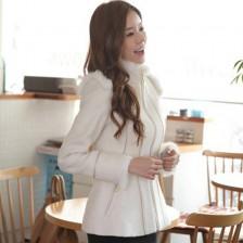 韩版冬装时尚修身显瘦拼接拉链装饰呢子外套  包邮