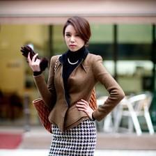 新款韩版版修身毛呢显瘦外套  新潮时尚  包邮