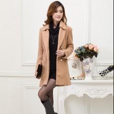 新款冬装韩版女装双排扣羊毛呢料长款大衣   买送网推荐  包邮