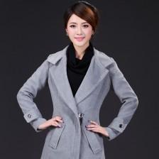 新款长款大衣复古暗拉链设计毛呢外套   包邮