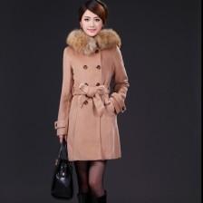 冬装新款时尚毛呢大衣带毛领外套(配貉子毛领) 韩式外套  包邮