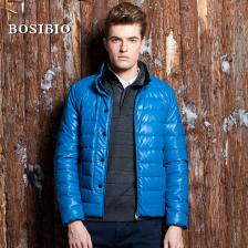 BOSIBIO2013男式羽绒服PU皮80%白鸭绒正品  加厚保暖外套  包邮