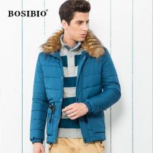 BOSIBIO2013男式高档棉衣 /加绒带毛领 中长款棉衣  正品  包邮