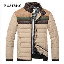 欧洲设计师品牌男装2013冬季新款时尚拼接撞色皮棉衣  包邮