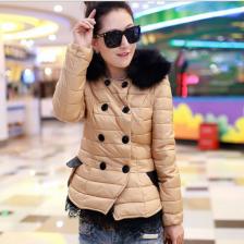 2013冬季新款时尚韩版修身短款蕾丝花边双排扣女装羽绒服  包邮