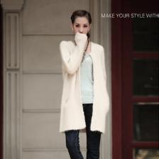 秋冬新款淑女羊仔毛纯色开衫胸针百搭针织衫加厚毛衣外套   包邮