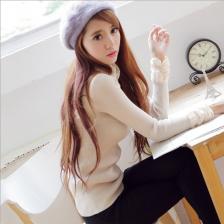 韩版甜美蕾丝堆堆高领纯色打底衫毛衣女 时尚靓丽  包邮