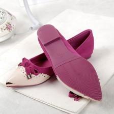 蛇皮纹拼接真牛皮金属尖头牛筋低跟浅口休闲时尚女鞋单鞋