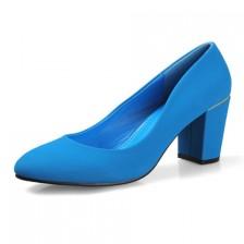 2014春季新款厂家直销女鞋绒面高跟粗跟圆头单鞋女鞋子
