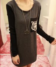 秋冬新款 韩版女装圆领口袋加绒长袖T恤 中长款打底衫 包邮