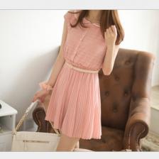 夏季精致镂空雪纺短袖娃娃领百褶连衣裙(送腰带)包邮