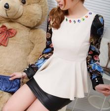 2014 新款甜美长袖修身显瘦衬衣圆领镶水钻雪纺拼接8018 包邮