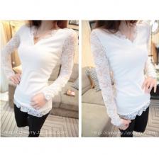 2014小清新性感小开叉 蕾丝袖 修身显瘦打底小衫 T恤8016 包邮