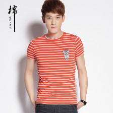 2014夏季时尚个性条纹男士短袖t恤 潮男装韩版修身男t恤 Z807 包邮