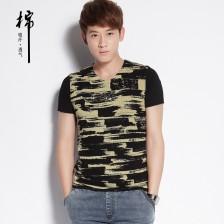2014新款韩版拼接网布男士T恤 个性潮短t恤Z803 包邮