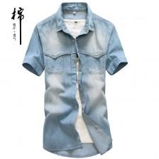 新款夏季牛仔衬衫短袖男士修身衬衣纯棉韩版男装薄款衬衫 Z608 包邮